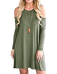 54420be5f5e62c HAOMEILI Women s Cold Shoulder Tunic Top T-Shirt Casual Swing Dress with  Pockets