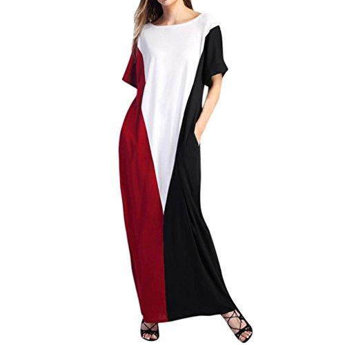 Longra Damen Bodenlanges Kleid Langes Kleider Jersey Maxikleid mit Tasche Kurzarm Sommerkleider Patchwork Lange Lose Abend Party Kleid Strandkleid Zweifarbig Shirtkleid Freizeitkleid (S, Red) -