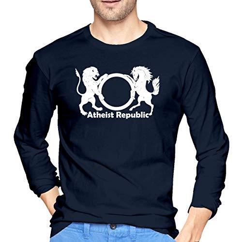 Atheist Republic Symbol Langärmeliges Männer-T-Shirt Lässiges Baumwoll-T-Shirt L