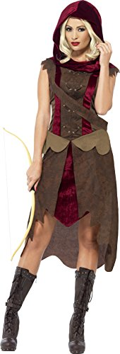 Smiffys, Damen Jägerin Kostüm, Kleid, Kapuze und Gürtel, Größe: S, 43720 (Jägerin Erwachsenen Kostüme)
