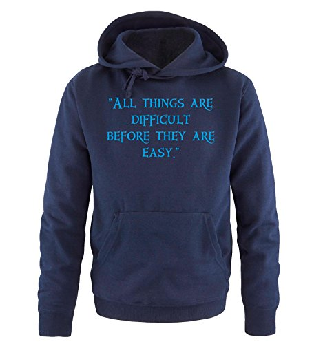 Comedy Shirts - ALL THINKS ARE DIFFICULT - Uomo Hoodie cappuccio sweater - taglia S-XXL different colors blu navy / blu