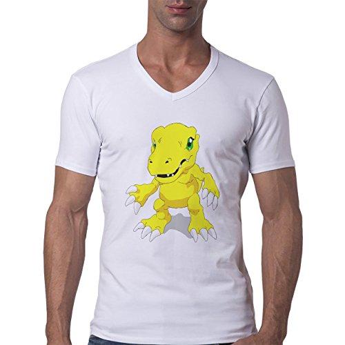 Digimon Agumon Greymon Wargreymon Wargreymon Nails Herren V-Neck T-Shirt  Weiß