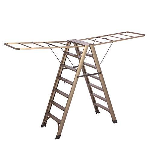 Escabeaux Séchoir Multifonctionnel à séchage pour échelle, séchoir intérieur et extérieur à étage Repliable pour Balcon (Couleur : Bronze)