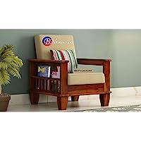 BN Furniture Sheesham Wood Single Seater Sofa Set for Home Living Room Hall (Honey Finish)