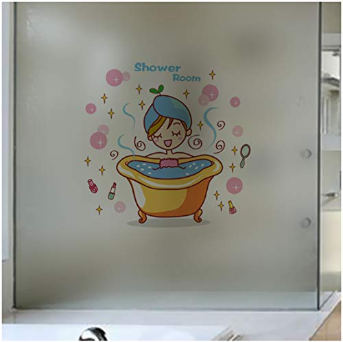 Lovely girl in the bath Glass Door Wall Sticker Shower Waterproof bathroom Home Decoration Art Decals Stickers wallpaper 25 * 24cm