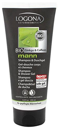 LOGONA Naturkosmetik mann Shampoo & Duschgel, Beruhigend & Vitalisierend, Vegan, Bio-Extrakte Koffein & Ginkgo, Für Männer, 200ml