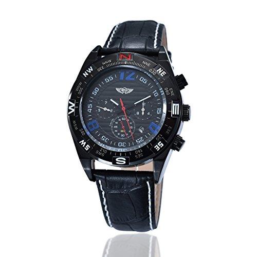 YAKI Il meccanico orologio automatico da uomo in pelle colore Nero (Riserva Orologio Di Lusso)