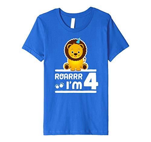 (Kinder Kids niedliche 4. Birthday Boy Jugend Löwe Zoo Shirt 4Jahre Alte Kinder)