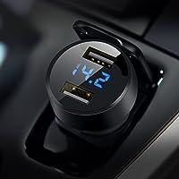 Cargador de Coche, Doble USB Puerto Cargador Móvil 5V/4.8A/24W, Adaptador Automóvil con voltímetro Digital LED, Carga rápida para iPhone X / 8/8 Plus / 7, iPad Air/Pro, Samsung, HTC, LG y más (Negro)