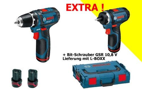 BOSCH GSR10 8V - TALADRO INALAMBRICO Y DESTORNILLADOR GSR10 8 (INCLUYE 2 BATERIAS Y MALETIN L-BOXX  31 PIEZAS)