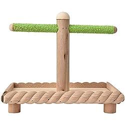 Pájaro, Juego de percha con forma de madera natural y soporte con forma de loro Barra de pie Barra de juguete de entrenamiento para periquitos Periquito Gris africano Cockatiel Cockatoo Lovebirds