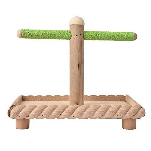 HEEPDD Vogel Sitzstangen, Naturholz T-Form Ständer Sitzstangen mit Tray Papagei Stehen Bar Training Spielzeug für Sittich Wellensittiche African Gray Cockatiel Cockatoo Lovebirds -