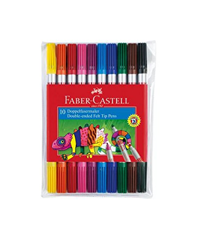 Faber-Castell 151110 – Paquete de 10 rotuladores de colores con 2 puntas