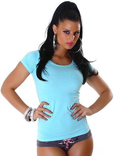 Jela London Damen Shirt mit Rundhalsausschnitt Türkis ...
