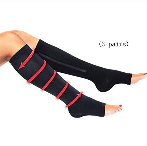 ZPPLD Medizinische Kompressions-Wadensocken mit Reißverschluss für Frauen und Männer, Kniehohe Stützstrümpfe mit abgestuften Krampfadern für Ödeme,XXL