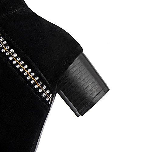 AgooLar Damen Mattglasbirne Mittler Absatz Stiefel mit Beschlagene Strass Schwarz