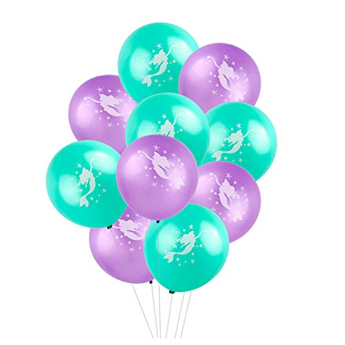 d Luftballons, 30,5cm Latex Mermaid Muster Luftballons für Hochzeit Geburtstag Brautschmuck Baby Dusche Party Supply Dekorationen 12'' 25pcs Purple + 25pcs Teal Green ()