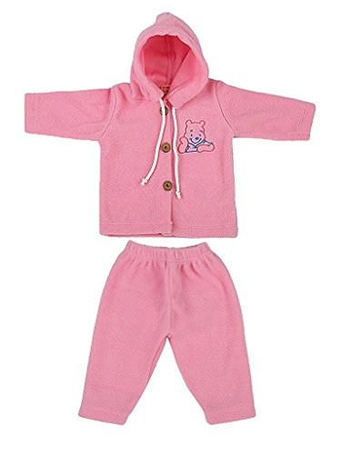 MYKID Baby Fleece Hooded Sweater Set Pink