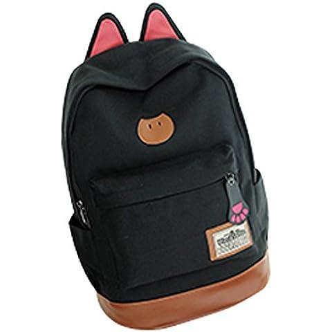 QHGstore Campus Linda chica de oreja de gato morral de la lona del bolso de escuela del viaje Mochila