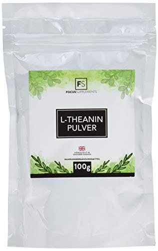 L-Theanin reines Pulver | RUHE & KONZENTRATION | Mehr Entspannung durch grünen Tee – Verpackt in ISO-zertifizierten Betrieben in GB (100 g)