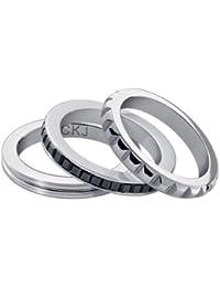 Calvin Klein - Anillo de acero inoxidable con circonita, 47 mm circunferencia, 14.6 mm de diámetro