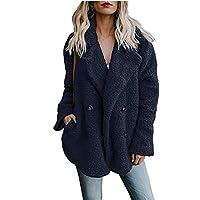 KCatsy Womens Jacket/Gilet Coat Plus Size Plain Chunky Pluffy Teddy Furry Flannel Hook Pockets Parka Outerwear 12 Colours
