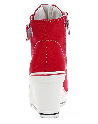 Di Scarpa Tennis Casuale Moda Da Di Scarpe Tela Zero L'aumento Campo Rosso Donna Padgene Compensato Da Da Ginnastica qwU00Xg
