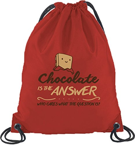 Shirtstreet24, Chocolate Is The Answer, Turnbeutel Rucksack Sport Beutel Rot