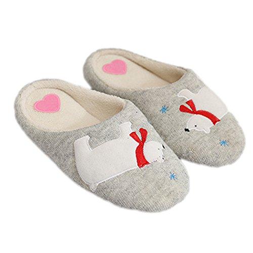 Summer Mae Damen Warm Hausschuhe Polarbär und Sant Claus Weihnachtsschuhe Gummisohle-Dunkelgrau