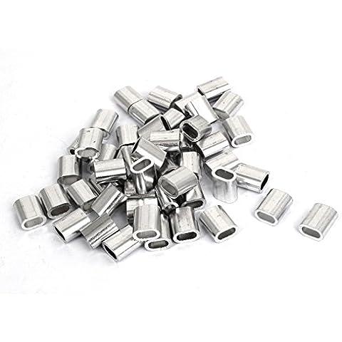 de 4 mm macho de estampar cuerda de alambre M4 clip oval de aluminio mangas Pinzas 50pcs
