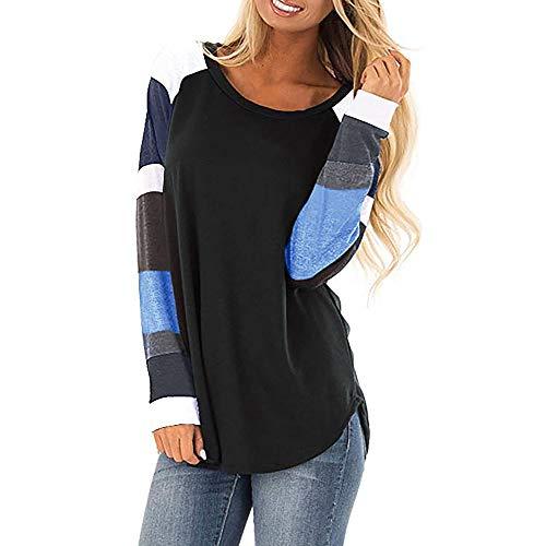 OSYARD Damen Gestreiftes Patchwork Rundhalsausschnitt Langarm Shirts Sweatshirts Bluse, Frauen Casual Color Block Langen Ärmel Pullover Tops Loose Tunic Sweatshirt Bluse T-Shirt (M, Schwarz)