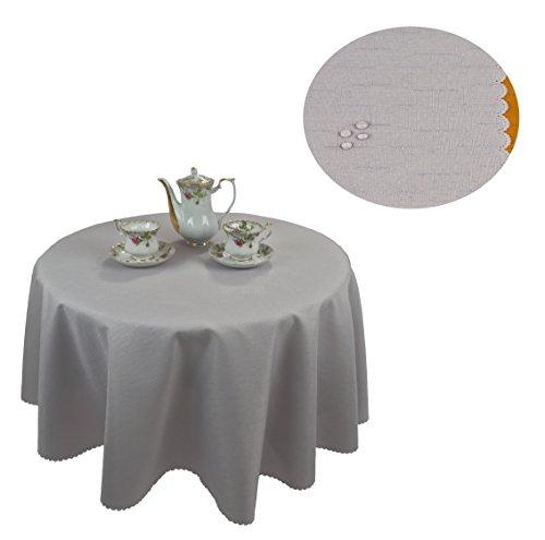 KMP Tischdecke abwaschbar Tischläufer Gartentischdecke Leinen Optik Rechteckig Rund (160 cm Rund,...