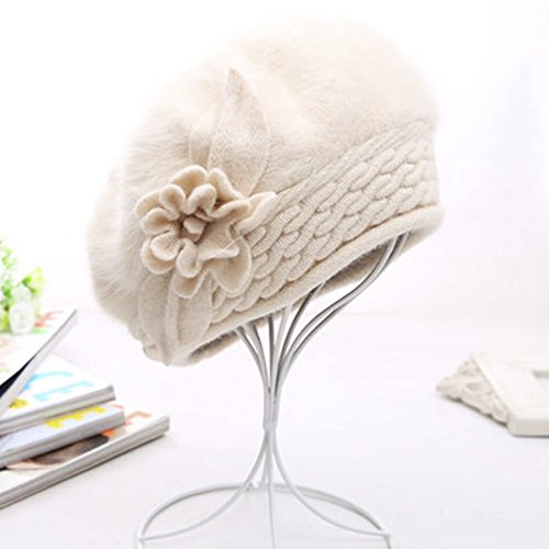 PinzhiRote Damen Lady Warme Winter Wolle Strickmütze Große Pom Bommelmütze Strickmütze Mütze(beige) (Beret Slouchy Knit)