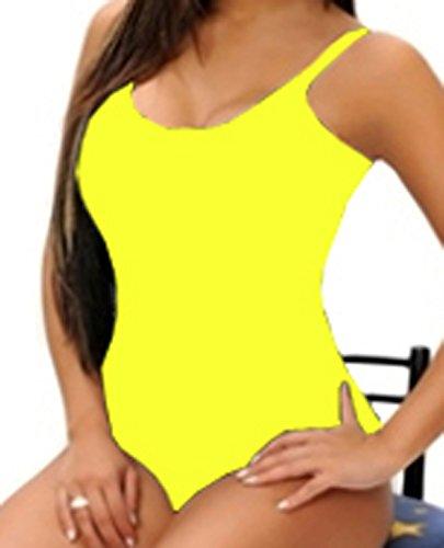 FARINA® 010 Damen Ärmellose Jumpsuit Bodysuit Figurbetont Stretch Oberteile Gelb