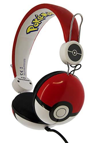 OTL Technologies TWEEN Kinder Kopfhörer Pokemon Pokeball (faltbar, gepolsterte Bügel, buntes Comic Design, für Jungen und Mädchen) Rot/Weiß
