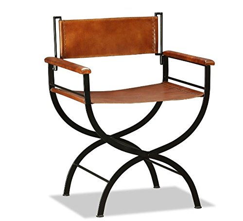 Vintage Industrial Armchair Genuine Leather Chair Rustic Style Steel Metal Frame Folding Seat Dining Living Room Cafe Bar Hallway Chairs Retro Office Funky Kitchen Armrest Mid Century Furniture NEW