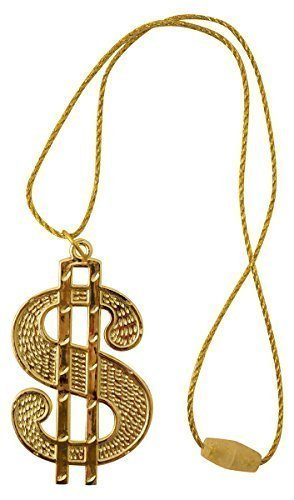 NG ALI G PIMP GANGSTER RAPPER KOSTÜM LUSTIG ZUBEHÖR - Gold Dollar Medaillon (Lustig Pimp)