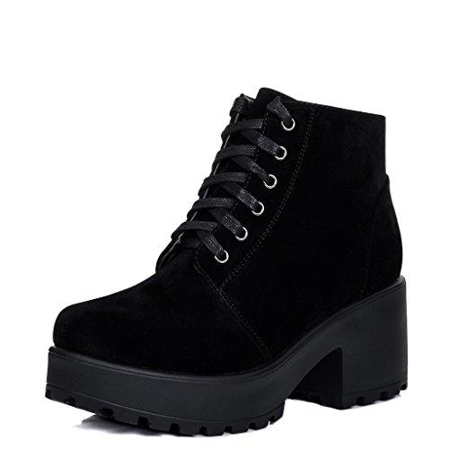 SPYLOVEBUY HOTHEAD Femmes Lacet à Talon Bloc Bottines Chaussures Noir - Simili Daim