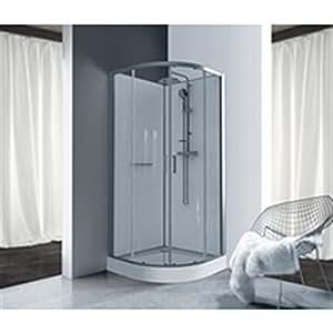 Cabine de douche Kara quart de rond 90 porte coulissante verre transparent avantage blanc Réf. L11KA4Q0101