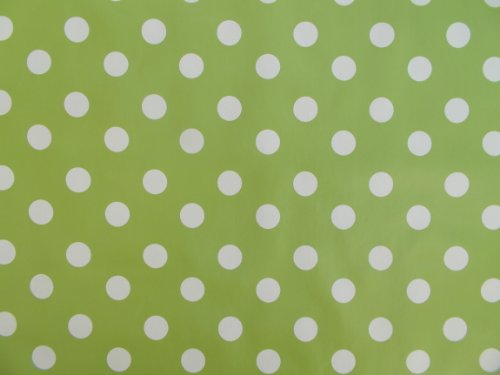 Table cloth 140 x 250 cm Ovale en PVC/Vinyle Nappe à Pois, Vert Citron – 8 Places