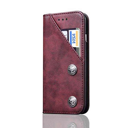 iPhone X Hülle, MOONMINI PU Leder Brieftasche Kartensteckplätze Handy Tasche Case Slim Fit Flip Bookstyle Lederhülle Schutzhülle mit Flip Stand Funktion und Magnetverschluss Handycover für iPhone X Sc Weinrot