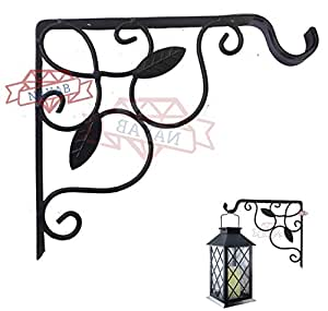 NAYAB Hanging Planter Iron L Bracket Wall Ceiling Hook Without Pot/L-Angle Flower Plant Stand Holder Bird Feeder Wind Chime Lanterns Hanger (2 Leaf)