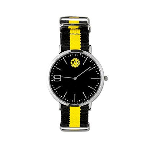 Borussia Dortmund Uhr, Schwarzgelb, Edelstahl/Nylon, Ziffernblatt ca. 4,2 cm, Wasserdicht, BVB-Emblem, 9 als Ziffer one size (Emblem Uhr)