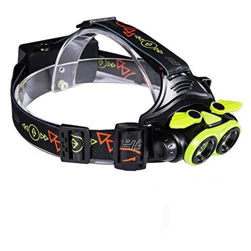 Huntvp LED Stirnlampe 2*L2 4800-5000LM Superhell Wiederaufladbar Scheinwerfer Wasserdicht Kopfleuchte Verstellbar Headlight mit SOS Pfeife 3 Modi für Camping Wandern Laufen Radfahren
