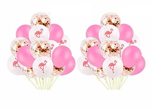 Yalulu 30 Stück 12 Zoll Ballons Flamingo Ananas Schildkröte Blätter Latex Luftballons Konfetti Ballons für Hochzeits Geburtstag Luau Tropical Party Dekoration (Rosa-Rose Gold)