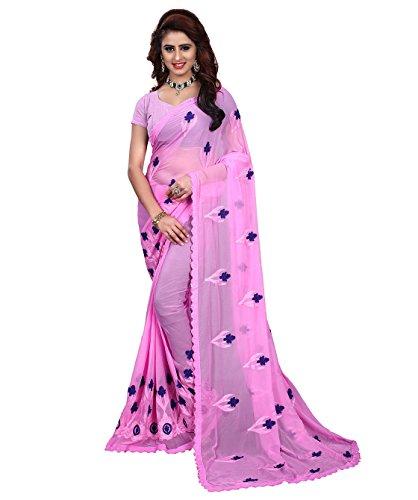 Being Banarasi Women\'s Chiffon Saree with Blouse Piece, Free Size (1266_A, Pink)