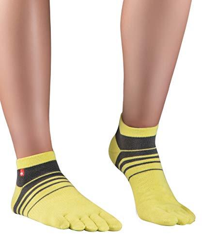 Knitido Track&Trail Spins Sneaker Socken Herren, Zehensocken für Sport und Zehenschuhe, Größe:35-38, Farbe:gelb/anthrazit