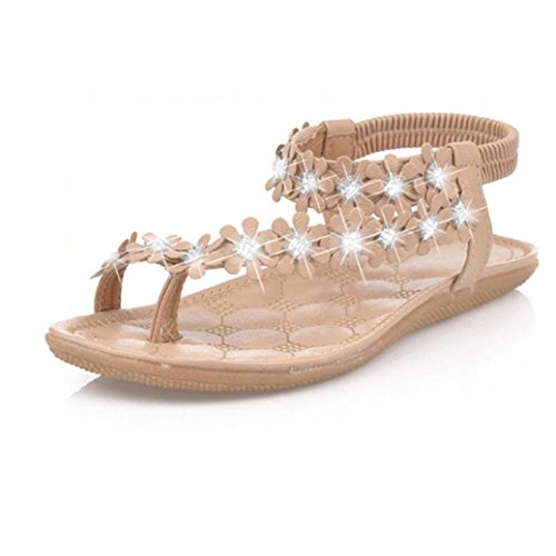 Gladiator T-strap Flachen Sandalen (Damen Sandalen Ronamick Frauen Sommer Böhmen Blume Perlen Flip-Flop Schuhe Flachen Sandalen Keilabsatz Pantoletten Sandaletten (38, Khaki))