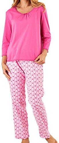 Slenderella Damen Luxus rosa Streifen & Liebe Herzen 140GSM 100 % weiche Flanell Baumwolle Taste Up Pyjama Größe klein (Herz-flanell-pyjama)