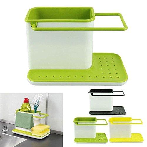 Inovera 3 IN 1 Self Draining Sink Tidy Organiser Sponge Brush Holder, Green